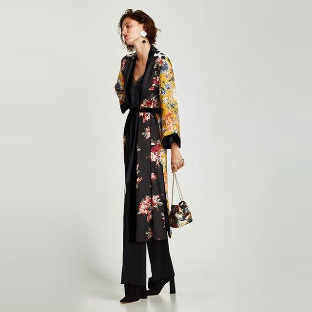 Flower Print Kimono Boho Long Loose Casual Robe with Belt 3