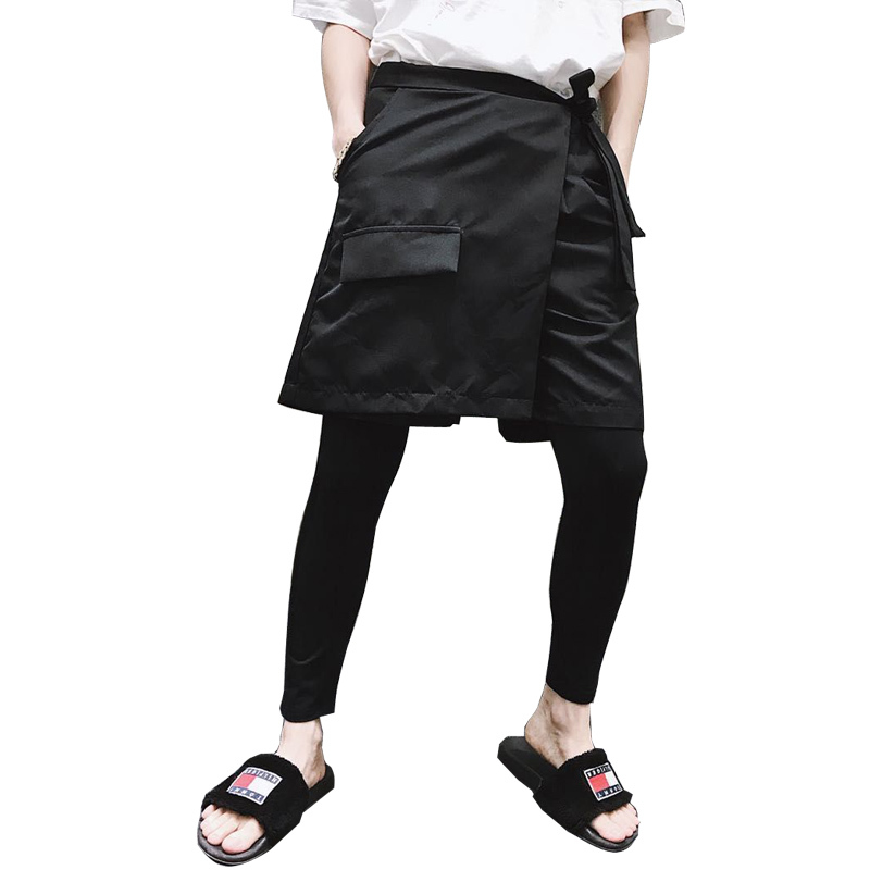 Pants Fake Two-piece Asymmetric Skirt Pants Tide Male Hair Stylist Spring And Summer Models Two-piece Set Bottoming Pants To Be Highly Praised And Appreciated By The Consuming Public