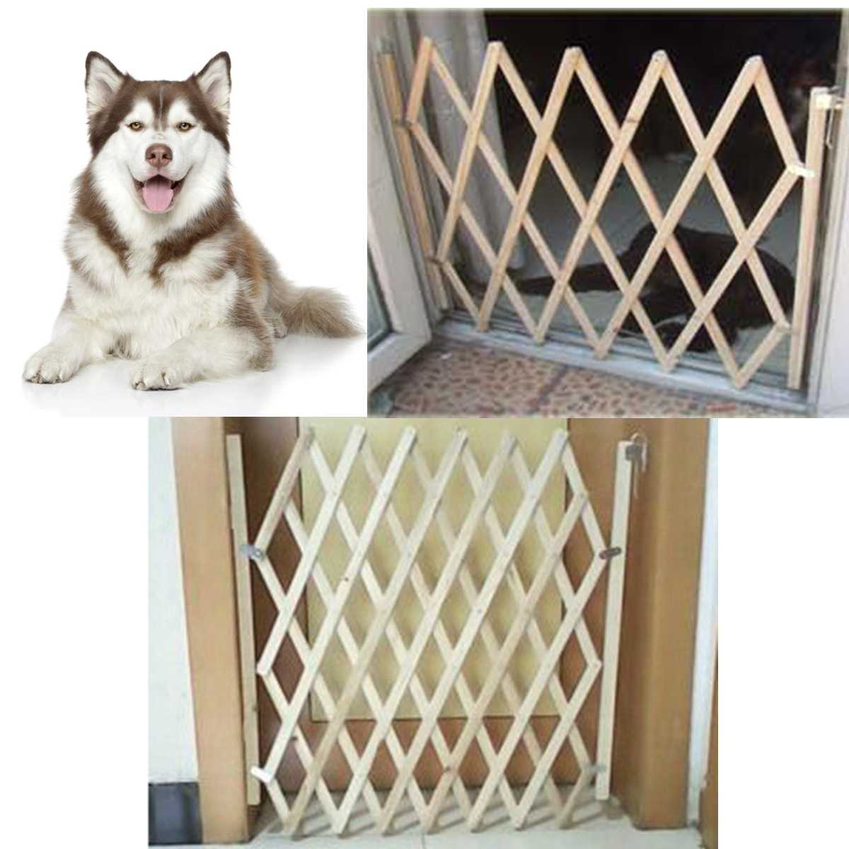 Stretchable Dog Gate and Wooden Pet Fence Gate for Protection of Pets from Harmful Places at Home