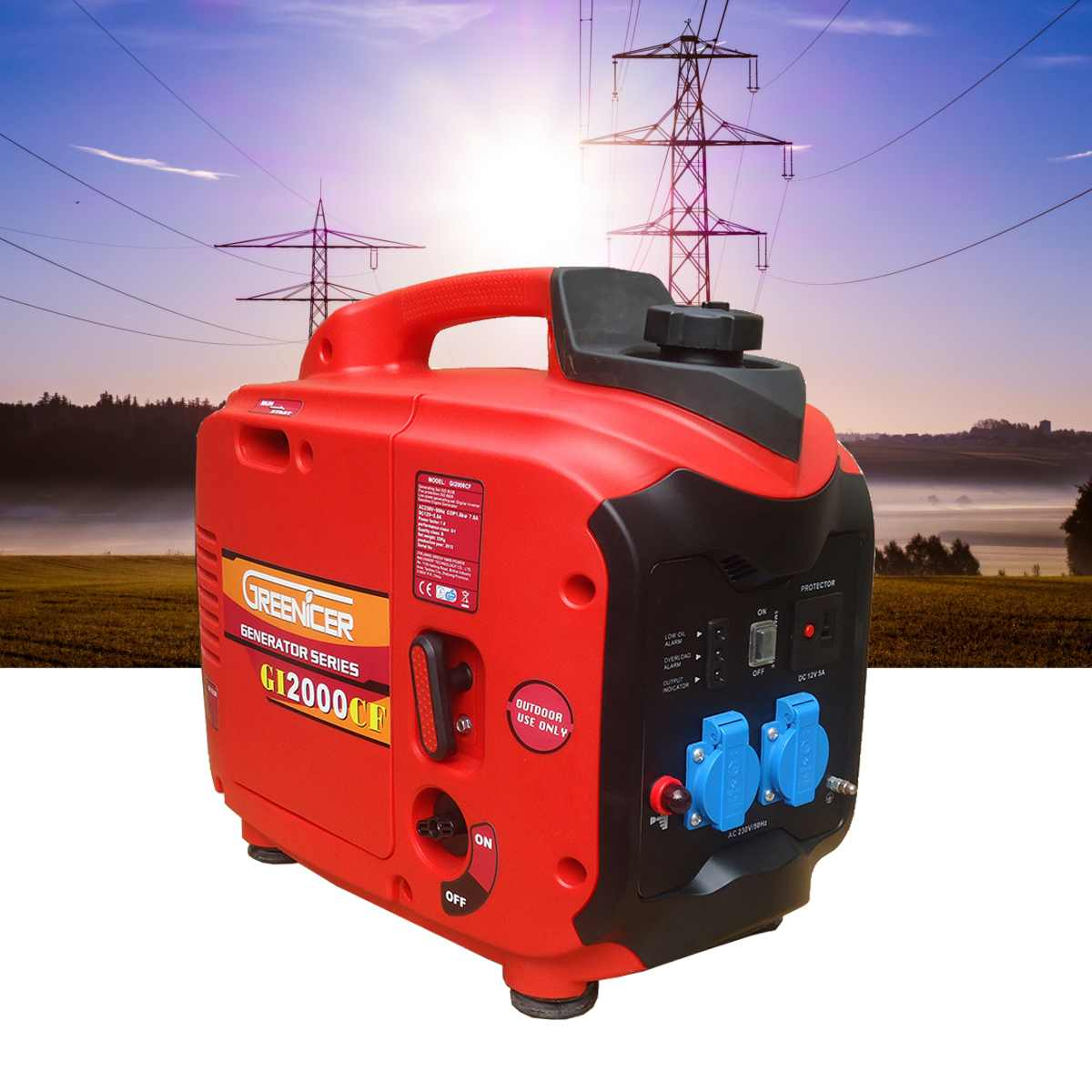 1/2/3KW 220V Portable Silent Electric DC/AC Inverter Generator Digital Gasoline Powered Engine Generator Set Low fuel 50Hz