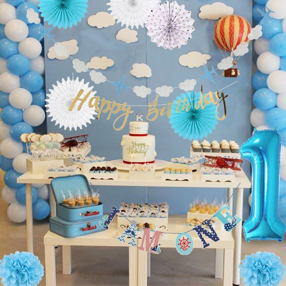 First Birthday Boy Party 28pcs set With I AM ONE Birthday Banner Latex Balloon Paper Rosette Fans For Kids 1st Birthday Decor in Party DIY Decorations from Home Garden