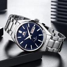 3c9a127229b2 100% Oriente Original reloj de hombres mecánico automático de reloj de  acero inoxidable de calendario