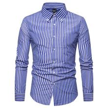 Striped Mens Dress Shirts Lapel Blouse Men Long Sleeve men Slim fit Formal Red Blue Gray