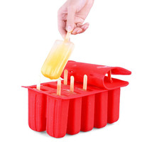 10 Frozen Ice Cream Silicone Mould Reusele Eco Friendly Summer DIY Popsicle Mold Yogurt Dessert Tool With 12 Sticks 3