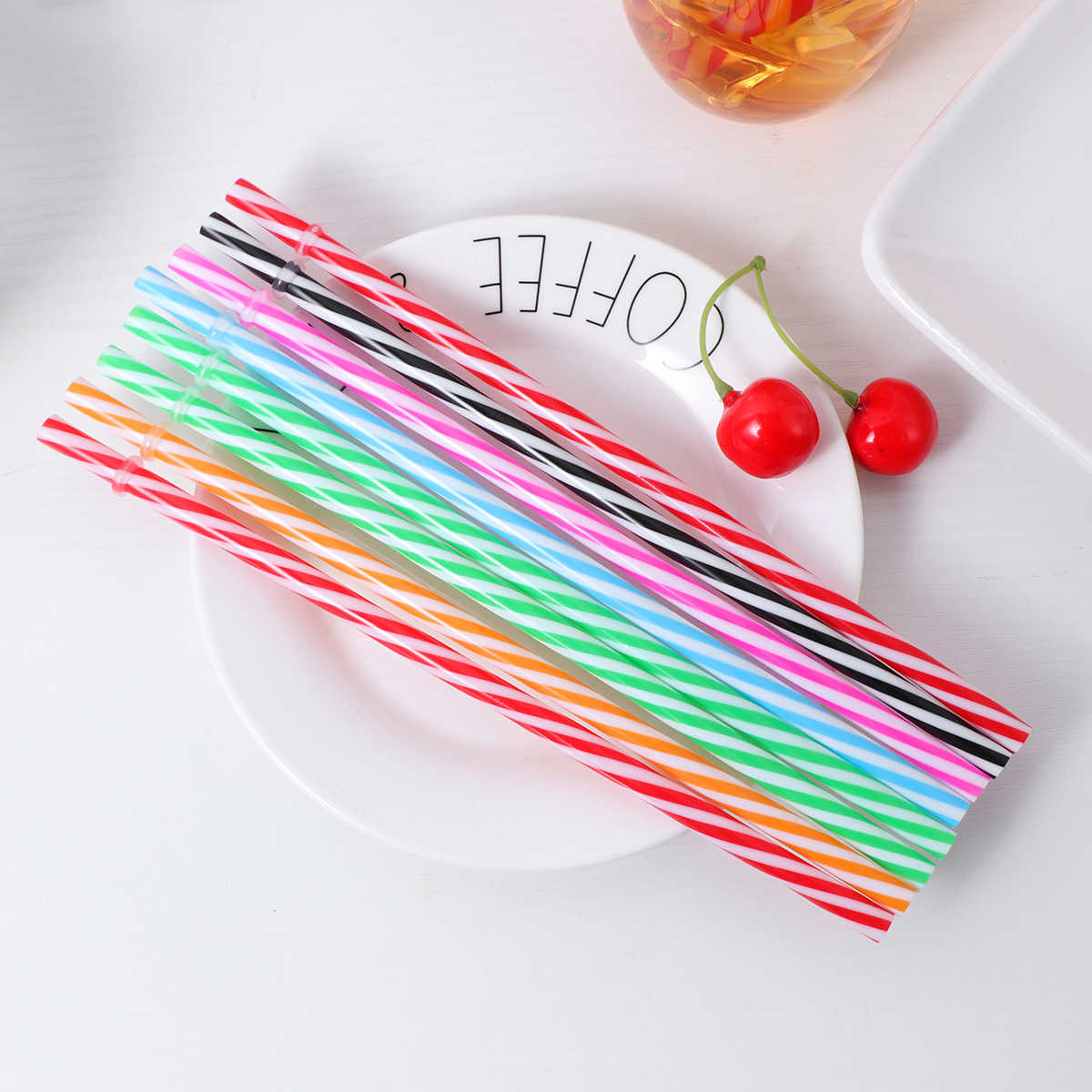 25PCS Threaded Straws Reusable Plastic Two Colors Party Supplies Drinking Straws for Wedding Birthday Christmas Festival