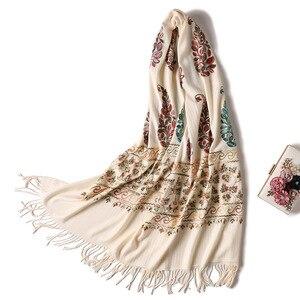 Image 4 - 2020 التطريز النساء وشاح عالية الجودة سميكة الدافئة أوشحة شتوية الكشمير شالات و يلتف السيدات الباشمينا باندانا echarpe