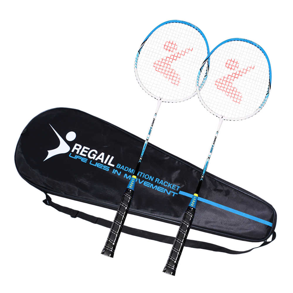 REGAIL Ultralight Badminton Racket Professional Aluminum Indoor Outdoor Sports Practice Badminton Racquet with Bag 2 Player