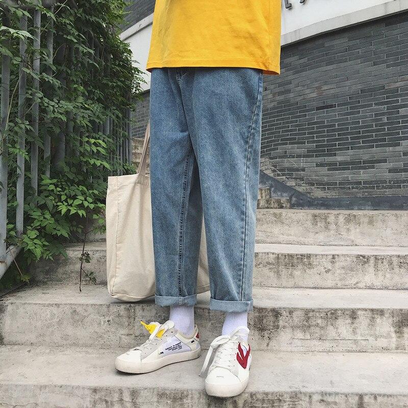 2018 Men's Fashion Brand Baggy Homme Classic Jeans Blue Color Straight Casual Pants Male Loose Biker Denim Trousers Size M-2XL