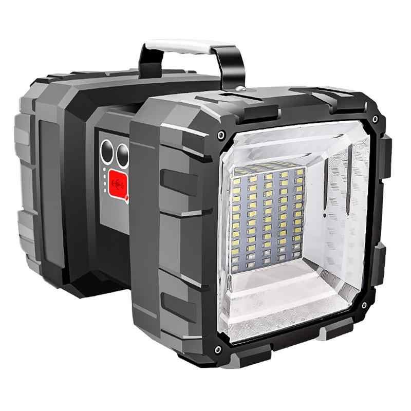Super Luminoso Doppio Testa della Torcia Elettrica Faro USB Ricaricabile Portatile Luce Di Emergenza Esterna Solare Luce del Lavoro Della Luce di Pesca