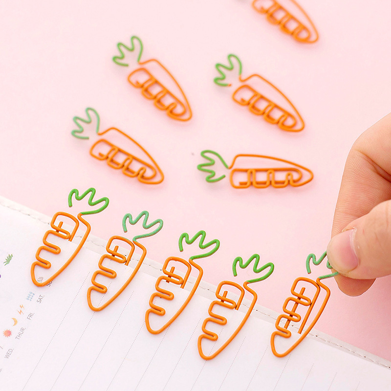 SIXONE 10 Pc Carrot Shaped Metal Paper Clip Kawaii Bookmark Colour Vegetables Creative Cute Cartoon Office Student Supplies