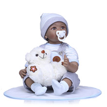 22″ Black African American Reborn Baby Doll Boy Vinyl Silicone Baby Cloth Body Lifelike