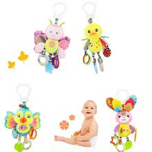Baby Plush Animal Stroller Bed Hanging Toys Stuffed Handbell Rattle with Teether Gift for Infants
