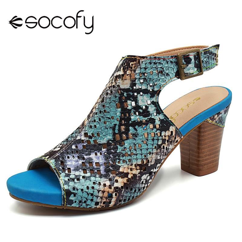 SOCOFY Comfy Snakeskin รูปแบบหนัง Hollow Hook Loop Peep Toe รองเท้าแตะสำหรับรองเท้าสตรีรองเท้าฤดูร้อนผู้หญิง Retro รองเท้าใหม่-ใน รองเท้าส้นสูง จาก รองเท้า บน   1