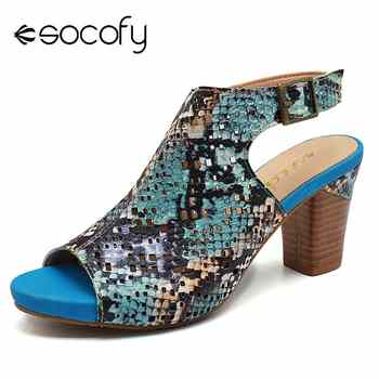 SOCOFY Comfy  Snakeskin Pattern Genuine Leather Hollow Hook Loop Peep Toe Sandals For Women Shoes Summer Woman Retro Booties New - DISCOUNT ITEM  50% OFF All Category
