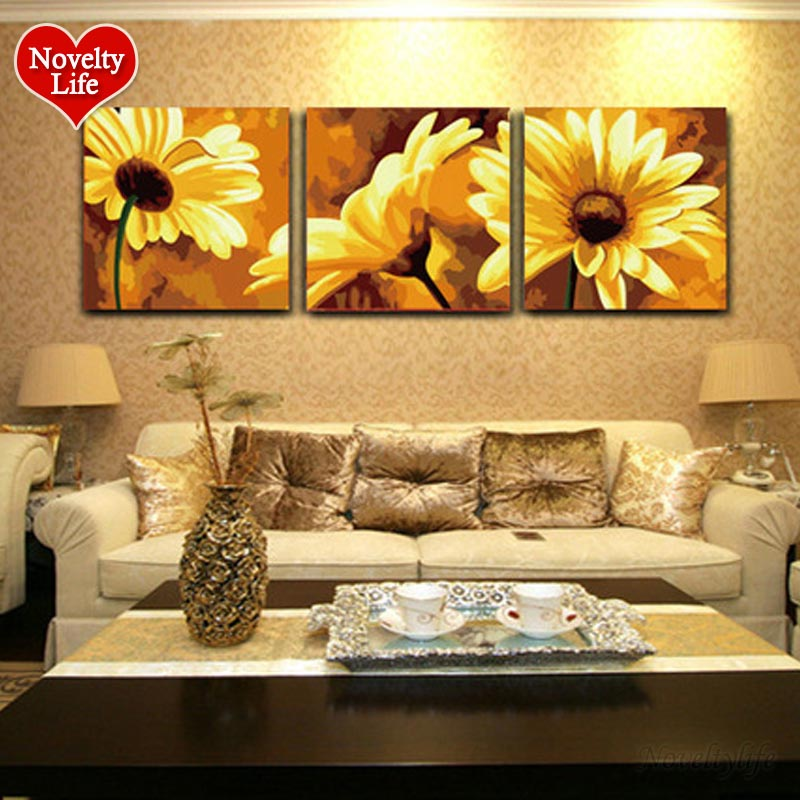 Frame Triptych DIY Coloring Oil Painting By Numbers Sunflowers Wall Decorative Hand Painted Canvas Acrylic Picture 50X50cm 3pcs