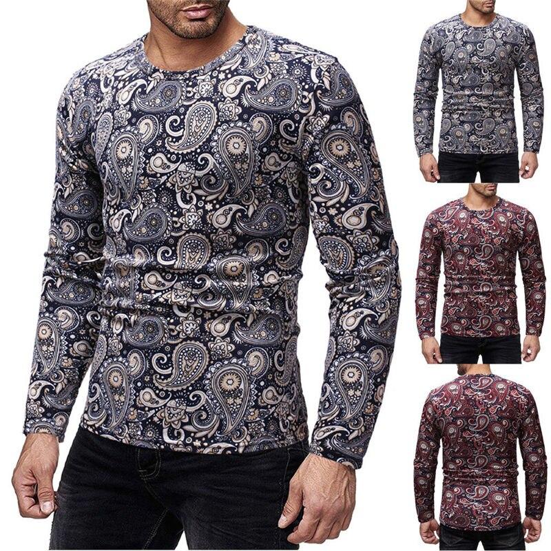 Hirigin Fashion Men's Slim Fit O Neck Long Sleeve T-shirts Casual Comfort Man Muscle Print Shirts Dropship