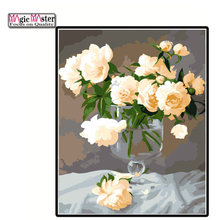 White Rose Flower Vase Diy frame Canvas Painting Nordic Posters And Prints Wall Pictures paintings For Living Room Home Decor(China)