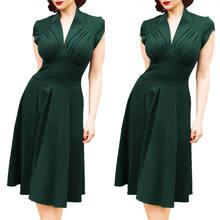 Vestido curto gola v feminino, casual, gola em v, estilo vintage, verde, cor sólida, oco, para o verão, de manga 1950 vestido de vestido
