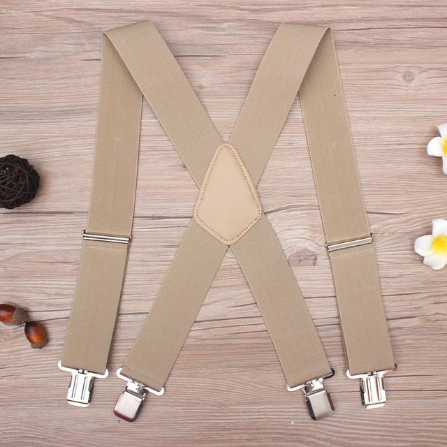 130 cm Artı boyutu Jartiyer ağır Erkek Pantolon 4 Güçlü Klipler 5 cm Geniş Parantez Ile geri Pantolon Adam Parantez Askı