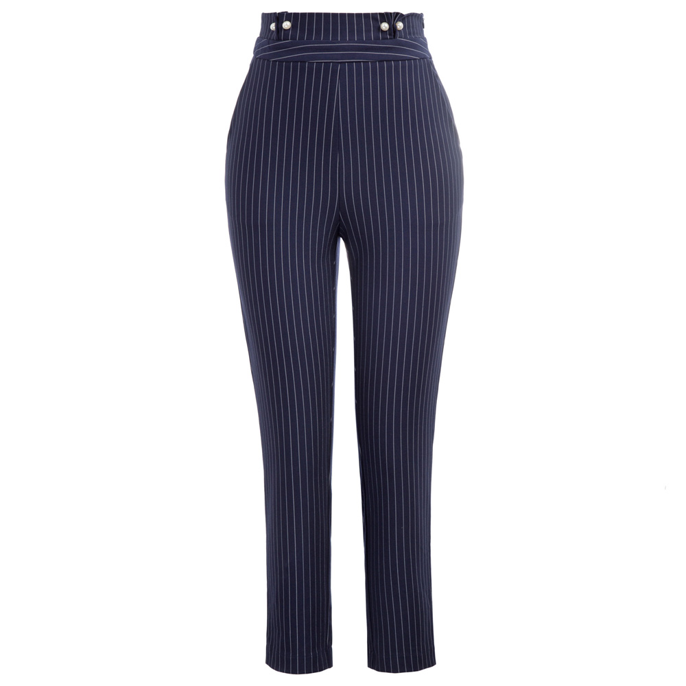 black/blue Pinstripe High Waist   pants   women elegant chic Faux Pearl Decorated Ankle length slim office work pencil   Pants     Capri