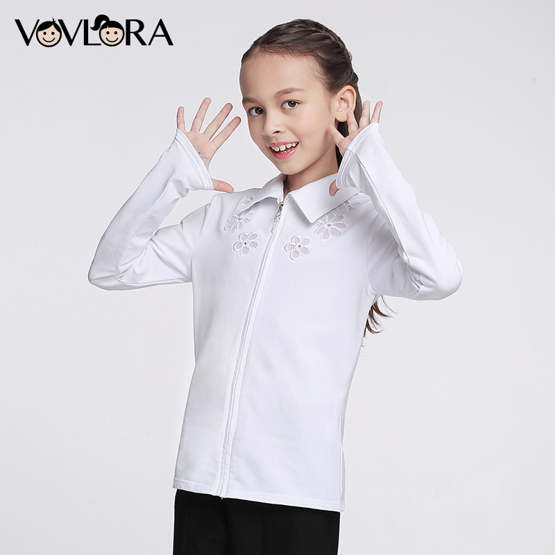 Girls School Blouse Long Sleeve Embroidery White Kids Blouses Cotton Zipper Summer Children Clothes Size 6 7 8 9 10 11 12 Years