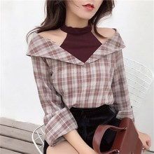 Women Plaid Shirts 2019 Korean Vintage Fashion Halter Patchwork  Streetwear Long Sleeve Casual Loose Female Blusas