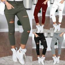 Plus Size 4XL 2019 Fashion Women Casual Holes Destroyed Knee Skinny Pencil Pant Trousers Black White Stretch Ripped Pants(China)