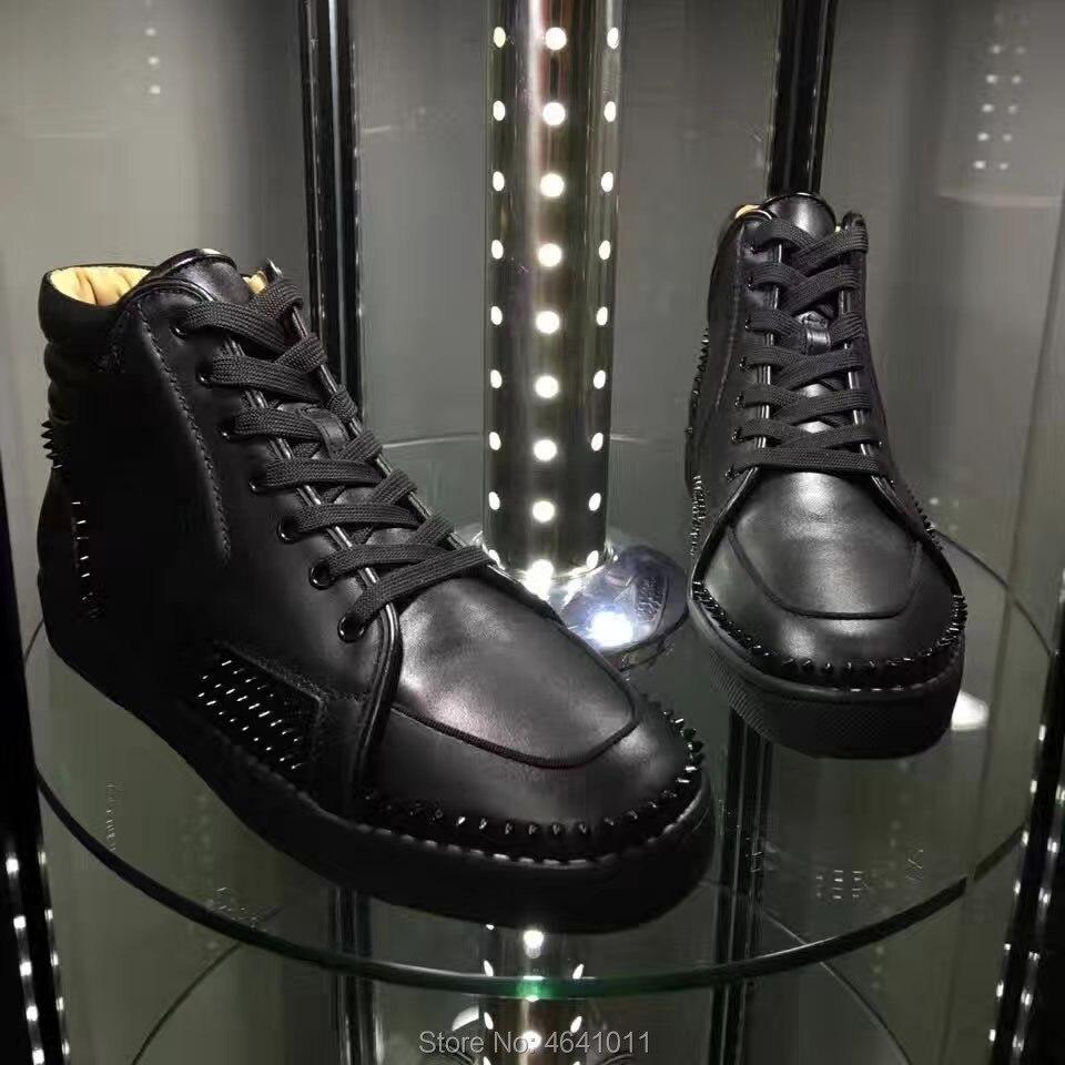 Schuhe Für Mode Casual Müßiggänger Rote Kleine Cl Freizeit Spitze Nieten Turnschuhe Schwarzes Andgz Up Mann High Untere Leder Flache Schwarz Top Volle w6Pxaa