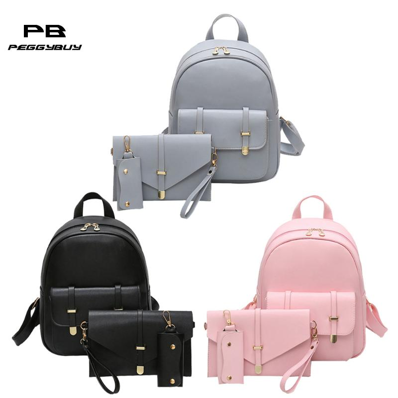 Dropshipping Women PU Leather Backpack Female Cute School Bags For Teenage Girls Black Shoulder Bag Women Backpack Set Sac 2019