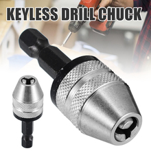 Keyless Drill Chuck Quick Screwdriver Impact Driver Adaptor 1/4 Hex Shank Keyless Drill Bit Chuck 0 3mm 6 5mm twist drill chuck screwdriver impact driver adaptor drill bits with 1 4 hex shank for electric grinder power tools