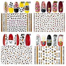 цена на 1PC Leopard Nail Stickers 3d Adhesive Sticker Decals Wild Sexy Design Charming Nail Art Decoration Transfer Foil Tip