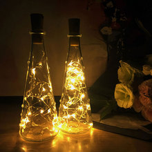 Free Shipping 10Pcs/lot 1M 2M LED Garland Copper Wire Corker String Fairy Lights Glass Craft Bottle Christmas Party Wedding Deco