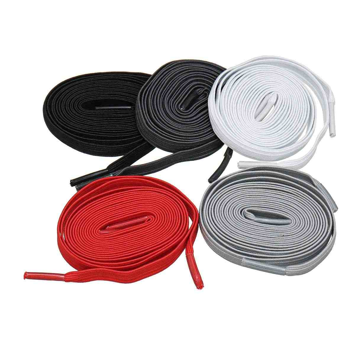 100cm Unisex ผู้ใหญ่เด็กยืดหยุ่นรองเท้า Lazy Laces รองเท้ากีฬาโพลีเอสเตอร์ไม่มี Tie Shoelaces สีดำสีขาวสีเทาเข้ม Light สีเทาสีแดง