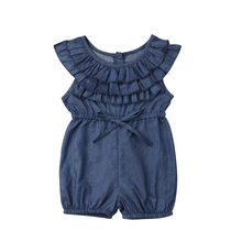 Toddler Kids Baby Girls Romper Solid Ruffle Denim Ruffle Sleeveless Rompers Blue Jumpsuit Outfits Girl Clothing Cute Clothes(China)