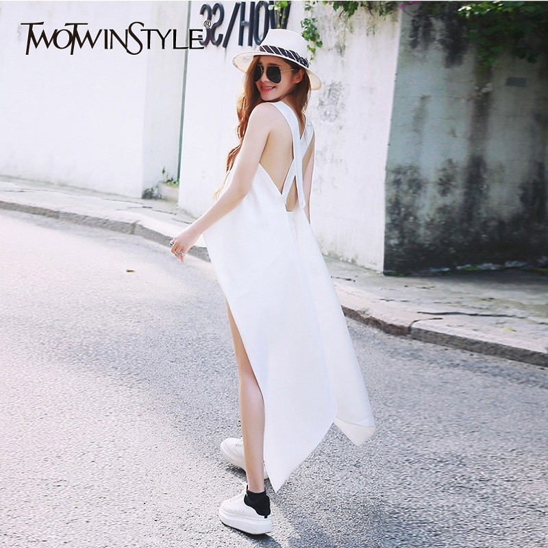 TWOTWINSTYLE Backless Irregular Sexy Shirt Women Asymmetrical Sleeveless Striped Blouse Tops Female Elegant Summer 2020 Fashion
