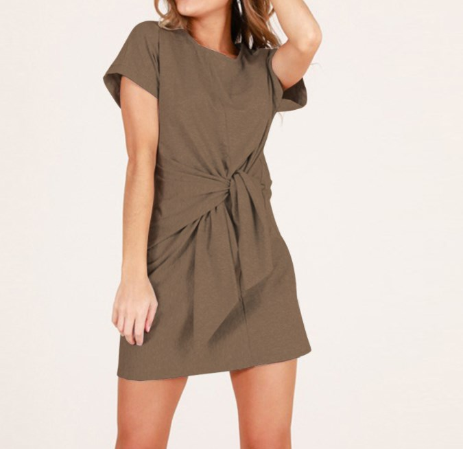 Women Short Sleeve Summer Dress Cotton T Shirt Dress Straight O Neck Casual Waist Knot Mini