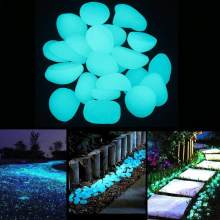 200PCS /100PCS/50PCS Garden Luminous Glowing Stone Pebble (Green Blue Orange Purple Each Color ) Garden Decoration(China)