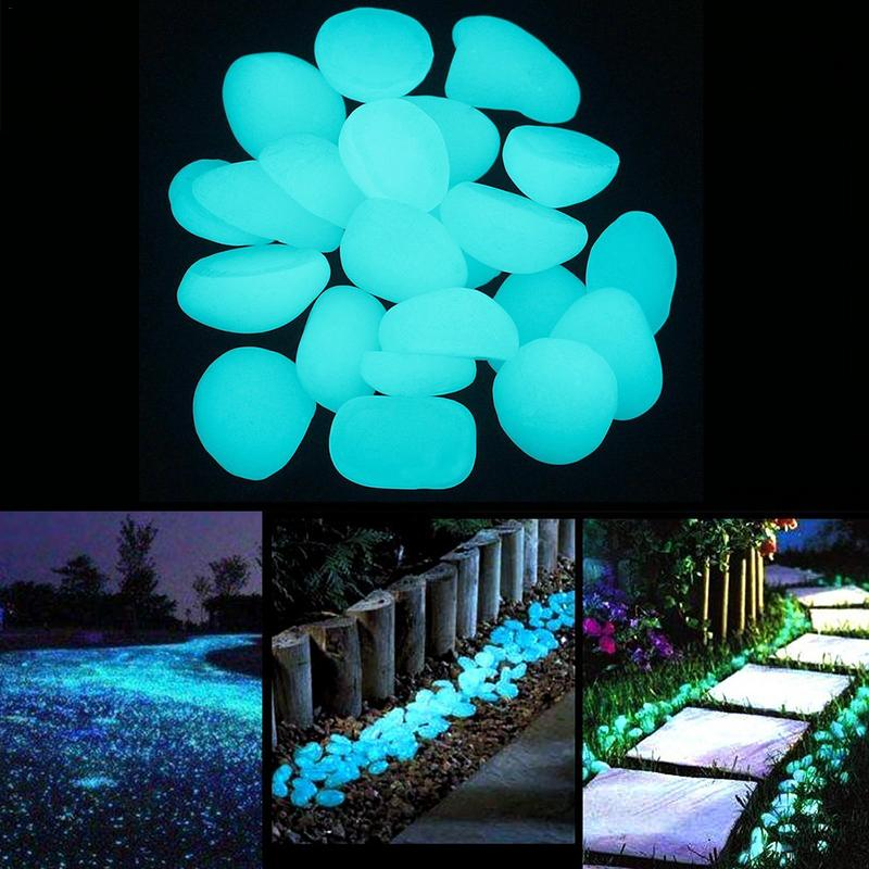 200PCS /100PCS/50PCS Garden Luminous Glowing Stone Pebble (Green Blue Orange Purple Each Color ) Garden Decoration