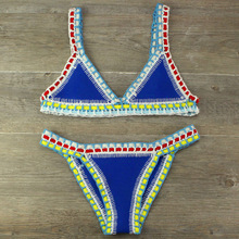 Patchwork Swimsuit Hand-Crocheted Biquini HALTER-TOP Beach-Vacation Knit Maillot Women