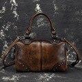 Echt Rindsleder Messenger Schulter Reisetaschen Pinsel Farbe Retro Tote Handtasche Hohe Qualität Frauen Echtes Leder Top Griff Tasche