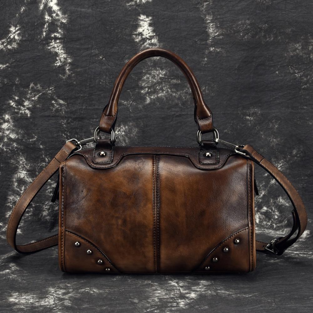 Real Cowhide Messenger Shoulder Travel Bags Brush Color Retro Tote Handbag High Quality Women Genuine Leather Top Handle Bag