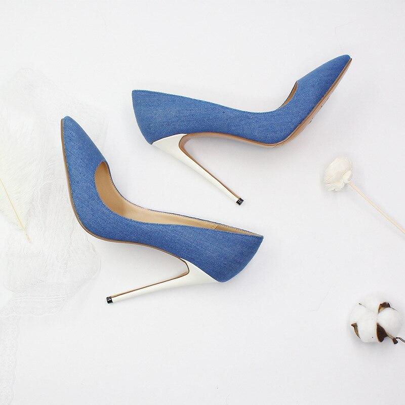 Heißer Verkauf Blau Schwarz Denim Spitz Frauen Schuhe High Heels Weiß Heels Slip on Damen Hochzeit Kleid Schuhe braut Plus Größe - 2
