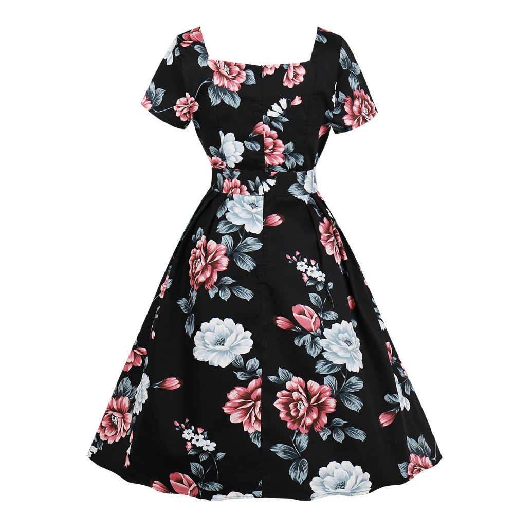 Joineles Floral Print Short Sleeves Summer Retro Dress 60s Rockabilly Swing Vintage Dress Square Collar Belts Party Vestidos New