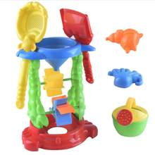 1pc Sand Hourglass Set Toys Plastic Plane Sand Play Set Sandbox Sand Dredging Tools Beach Toys for Girls Boys(China)