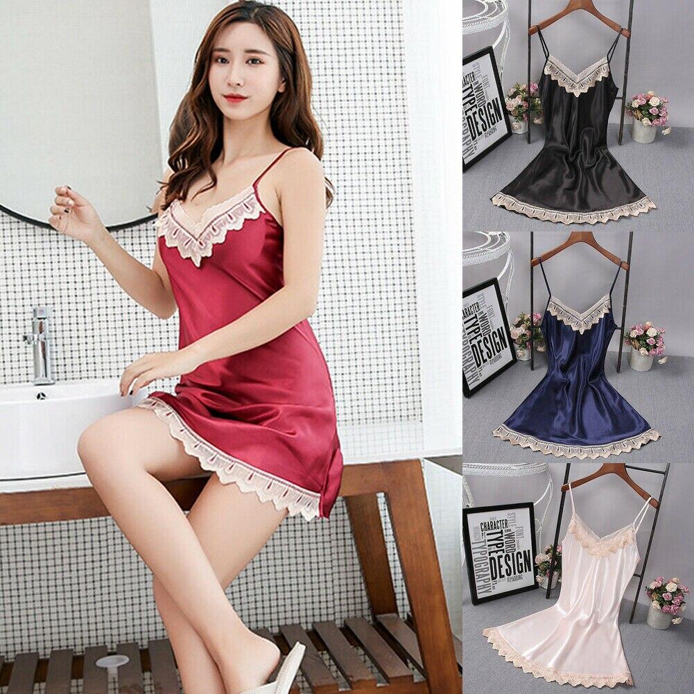 2019 New Women Deep V-neck Satin Silk Lace   Sleepshirts   Women Night Dress   Nightgown   Sleepwear