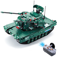 CaDA C61001W RC Blocks Tank Creative Toy Learning 2.4G 4 Channel Remote Control Car Element Building Blocks Toy Kids