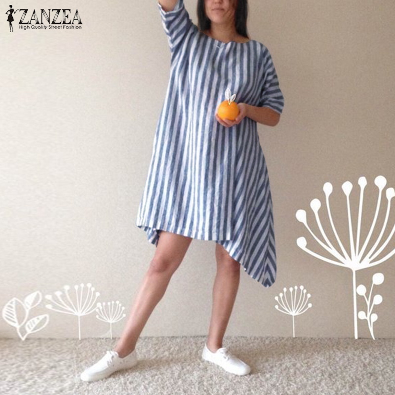 ZANZEA Women Vintage Striped 3/4 Sleeve Irregular Hem Cotton Linen Dress Spring Casual Short Vestido Loose Robe Long Shirt