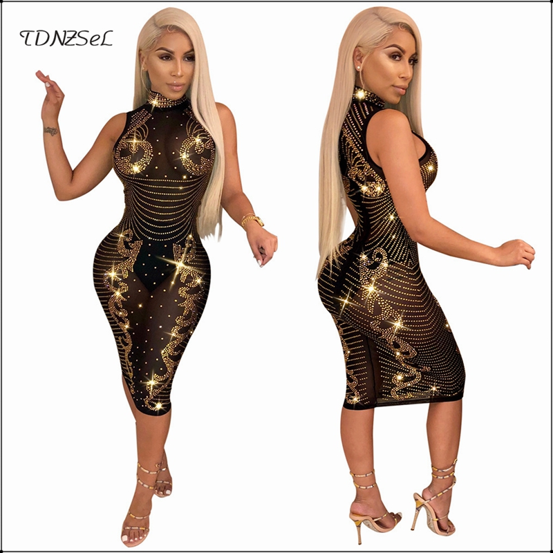 Sexy Mesh Transparent Diamonds Shiny Dress Hollow Women Glitter See Through Nightclub Party Bodycon Dresses Sleeveless Elastic
