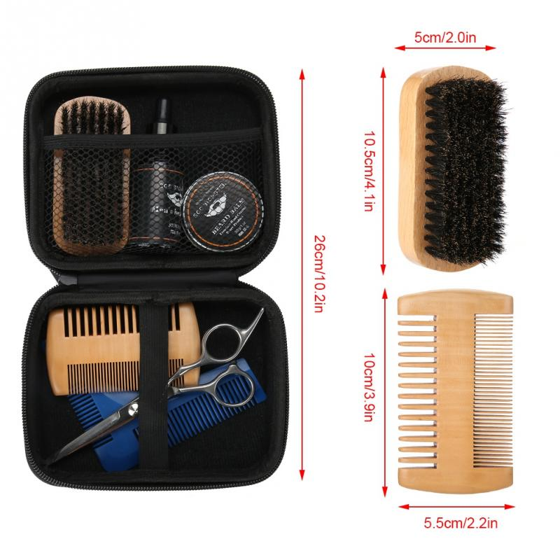 New 7 PCS/Set Portable Men Beard Styling Shaping Cream Beard Oil Wax Brush Comb Scissor Mustache Hair Care Hair Men Beard Set