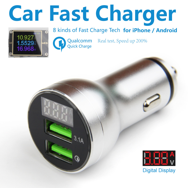 QC 3.0 Car Fast Charger 2 Usb Qualcomm Quick Charge Car Charger Led Display Voltage Mobile Adaptor for iPhone Android Huawei SCP